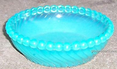Small Vintage Blue Glass Bowl with Swirl Design and Beaded Edge