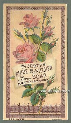 Victorian Trade Card Thurber Pride of the Kitchen Soap for Cleaning with Roses