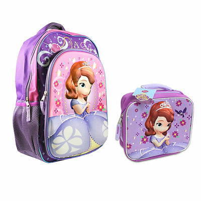 """Backpack 16"""" + Lunch Bag Tote Pop Out 3D Disney Sofia The First Violet New"""