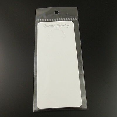 19.5*6cm Paper White Jewelry Case Necklace Display Hanging Card With Bag 100pcs