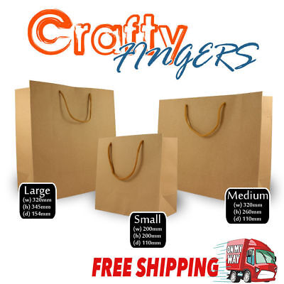 50 x CRAFT PAPER GIFT CARRY SHOPPING BAGS BULK BROWN SMALL MEDIUM LARGE