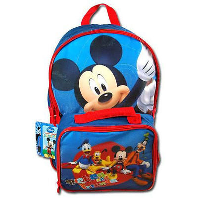 """Backpack 16"""" + Detachable Matching Lunch Bag Disney Mickey & Friends NWT"""