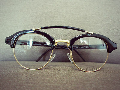 Black Vintage Aviator Retro Geek Fashion Glasses 60s 80s