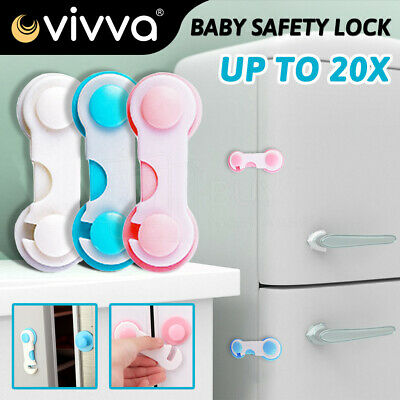 Child Kids Baby White Safety Lock For Door Drawers Cupboard Cabinet Adhesive NEW