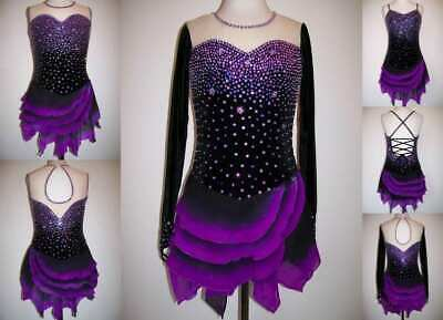Purple Ice Figure Skating Dress/Baton twirling Costume/Dance Outfit -Made To Fit