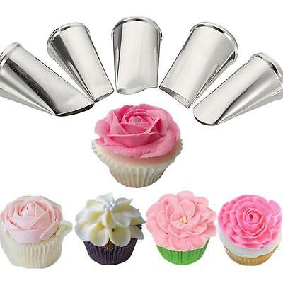 5 Style Flower Petal Icing Piping Nozzles Tips Cake Decorating Baking Tools