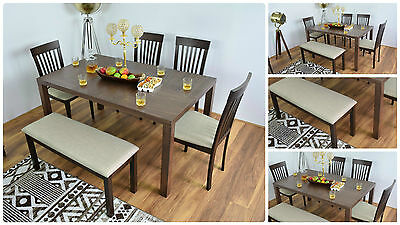 Dining Table and 4 Chairs Baltimore Bench Set Solid Wood Modern Dinner Furniture