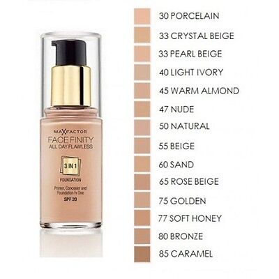 Max Factor Facefinity 3 in 1 Flawless Foundation 30ml - Choose Your Shade