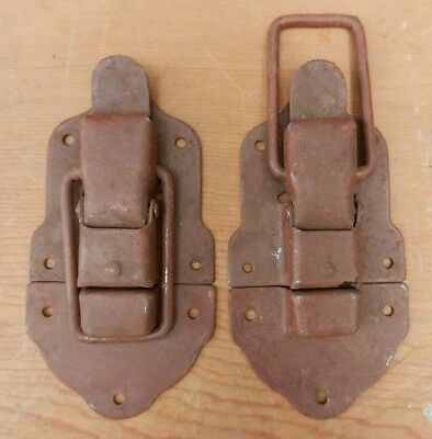 NOS Antique Trunk Parts - Pair Working Snap in Place Latches - Custom Chest