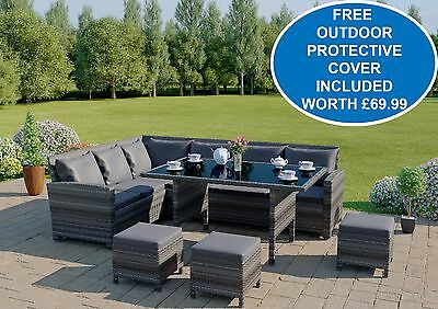 Dark Mixed Grey Rattan Garden Furniture Corner 9 Seater Set & Dining Table 2016