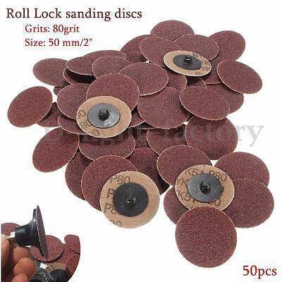 """50x 2"""" 50mm SANDING GRINDING DISCS 80 GRIT SURFACE CONDITIONING ABRASIVE PADS"""