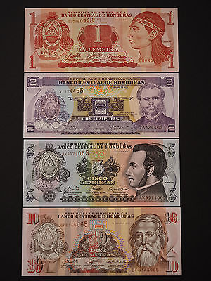 Sth Amer Honduras Classic Set Of 4 Notes  -  Great Colour  * Superb Unc *