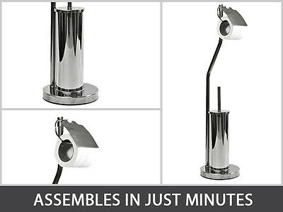 Free Standing Toilet Roll Holder And Brush Stand Steel Chrome Finish 046