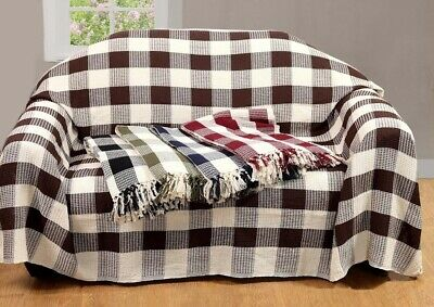 Waffle Check 100% Cotton Handwoven Throws for Sofa Arm chair Bedspread, 5 Colour