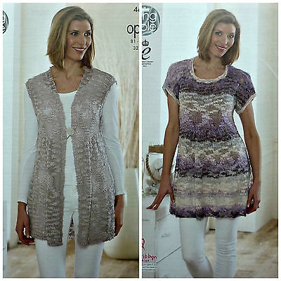 KNITTING PATTERN Ladies Smock Waistcoat and Tunic Top Opium King Cole 4669