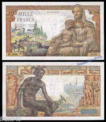 FRANCIA FRANCE 1000 Francs 1942 Pick 102 SC-  / aUNC