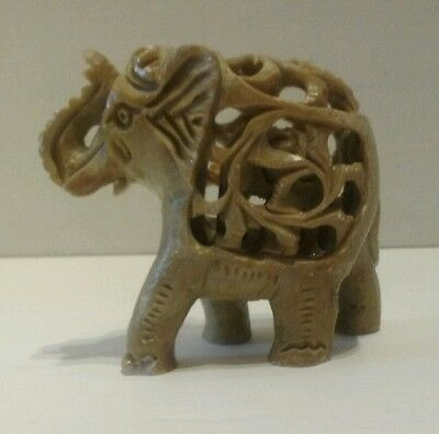 Unique Hand Carved Stone Elephant w/Unborn Child. Beautiful From India Pristine!