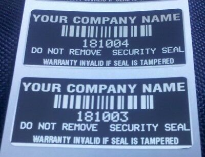 100 Custom Printed Warranty Void Security Labels Stickers Seals -Black-
