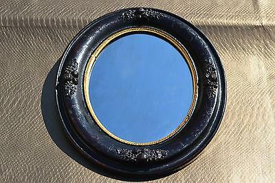 Antique Ornate Wooden Gesso Frame Oval Circular Mirror Vintage 19th Century?