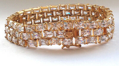 Beautiful 925 Sterling Silver Gold Plated Bracelet White Clear Gem Stones Chain