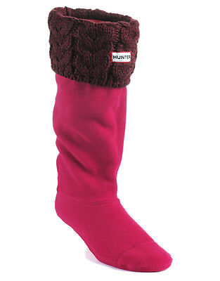 Hunter Welly Warmers Socks Very Berry Chunky Cable Med