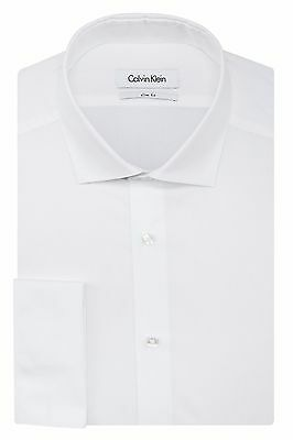 Calvin Klein Men's Slim Fit Long Sleeve Solid French Cuff Dress Shirt White