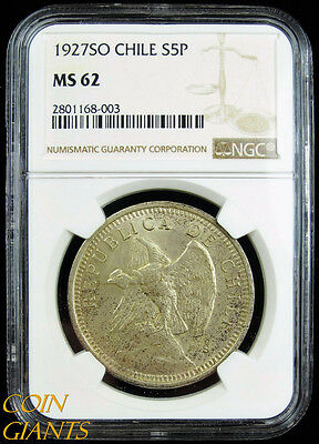 1927-SO Chile Silver Five Pesos S5P NGC MS62 BU Uncirculated Republic Coin Rare!