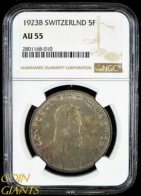 1923B Switzerland 5 Francs KM#37 5F NGC AU55 About Uncirculated Toned Silver 5Fr