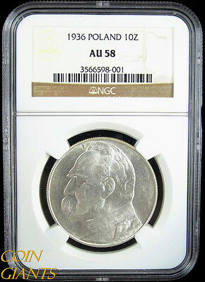 1936 Poland 10 Zlotych Y#29 Silver Coin NGC AU58 Undergraded About Uncirculated