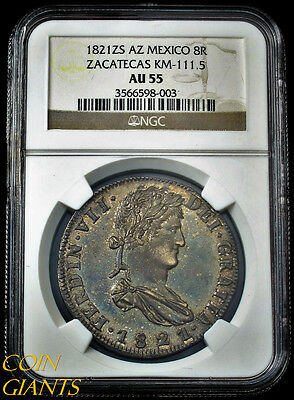 1821 ZS AZ Mexico 8R Zacatecas KM-111.5 NGC AU55 About Unicrculated Toned RARE!