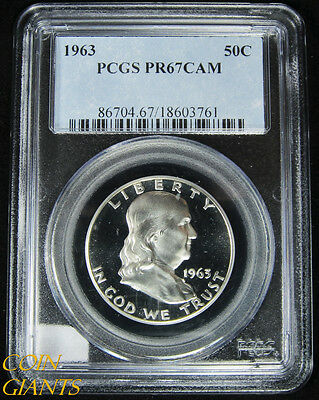 1963 Franklin Half Dollar PCGS PR67 CAM Cameo GEM PF Proof Coin Mirror Beautiful
