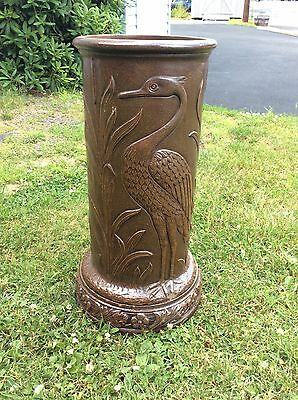 Antique Arts And Crafts Stoneware Rockingham Bennington Pottery Umbrella Stand