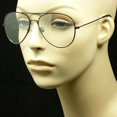 Clear aviator lens sun glasses frames nerd geek retro vintage style metal new