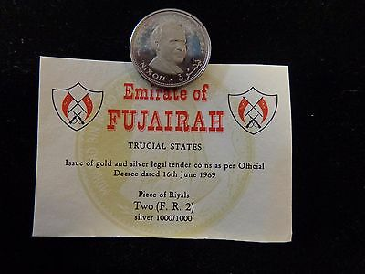 1969 United Arab Emirate of Fujairah Nixon 100% Silver 2 Riyal Coin Emirates