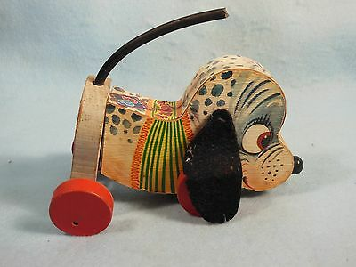 Vintage-Fisher Price-1956-1959-Nosey Pup-All Wood-# 445