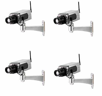 4-Pack Dummy Wireless Motorized Rotating CCTV Security Cameras with On/Off LED