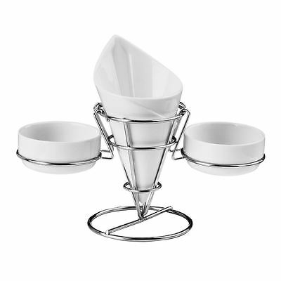 French Fry Cone, 2 Dip Dishes, White Porcelain/Chrome Finish Stand