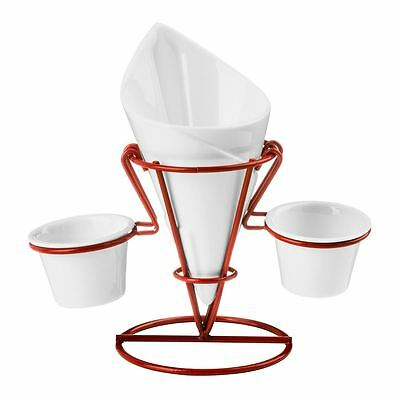 French Fry Cone, 2 Dip Dishes, White Porcelain/Red Metal Stand