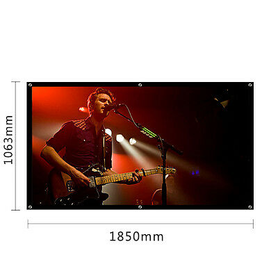 "84"" 185X106cm Projector Projection Screen Home Cinema Matte HD 16:9 UK STOCK!"