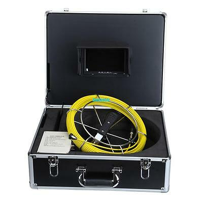 """30m Cable Sewer Pipeline Line Inspection Camera System Drain Pipe Monitor 7""""LCD"""