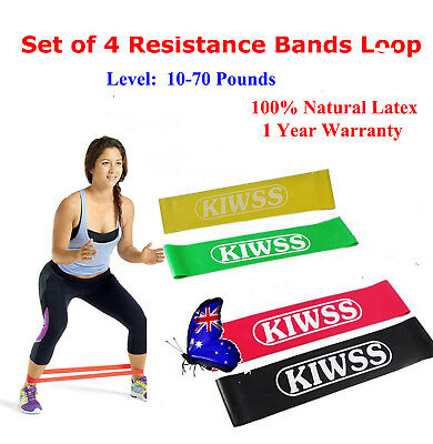 Set Of 4 Heavy Duty Resistance Band Loop Power HOME GYM Fitness Workout Yoga