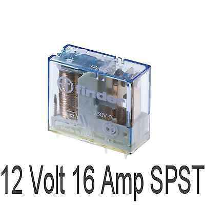 12V Relay coil 16 Amp contacts Single pole change over 16A volt SPST PCB mount