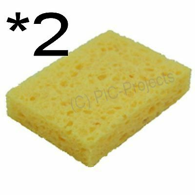 2 * Soldering Iron Sponge 35 x 50mm for Bit / tip cleaning solder cleaner - UK