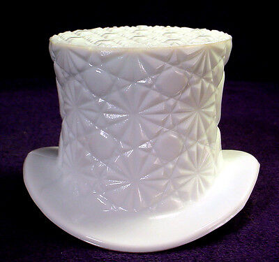 Vintage MILK GLASS Top HAT Opaque DAISY & BUTTON Candy Dish VASE Bowl PLANTER