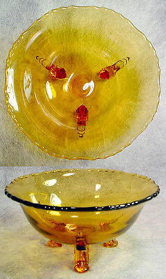 Amber ELEGANT Depression Glass FOOTED BOWL Candy Dish NEW MARTINSVILLE Vintage