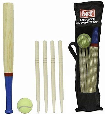 M.Y deluxe rounders set comes with wooden bat & stump, 1 tennis ball & carry bag