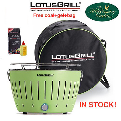 *new* Lotus Grill Green Bbq Free Gel And Charcoal Smokeless Camping Caravan Case