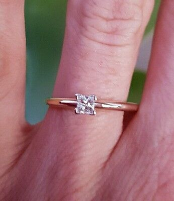 14CT Yellow Gold .20ct Genuine Diamond Solitaire Ring Engagement Princess Cut