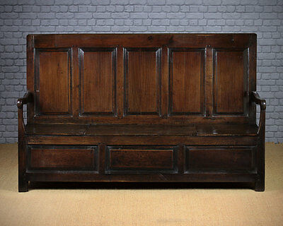 Antique Mid 18th.c. Welsh Oak High Back Box Settle c.1760.