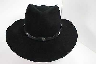 Harley Davidson cowboy hat #4384 made in USA Black medium 90%Wool 10%Fur